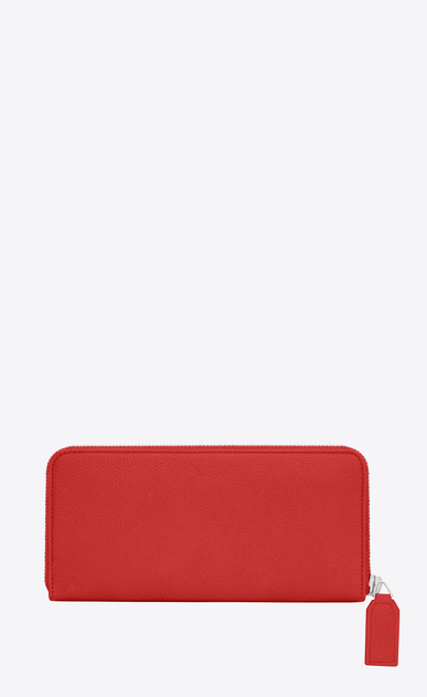 SAINT LAURENT Rive gauche SLG Damen CLASSIC RIVE GAUCHE ZIP AROUND WALLET WITH MONOGRAMMED PULL in RED GRAINED LEATHER b_V4