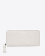 SAINT LAURENT Rive gauche SLG D CLASSIC RIVE GAUCHE ZIP AROUND WALLET WITH MONOGRAMMED PULL in DOVE WHITE GRAINED LEATHER f