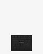 SAINT LAURENT Saint Laurent Paris SLG U Classic SAINT LAURENT PARIS card case IN BLACK CROCODILE EMBOSSED LEATHER f