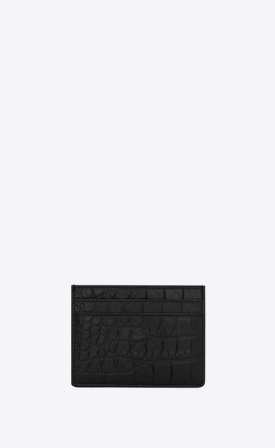 SAINT LAURENT Saint Laurent Paris SLG U Classic SAINT LAURENT PARIS card case IN BLACK CROCODILE EMBOSSED LEATHER b_V4