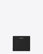 Classic Saint Laurent Paris East/West Wallet iN BLACK CROCODILE EMBOSSED LEATHER