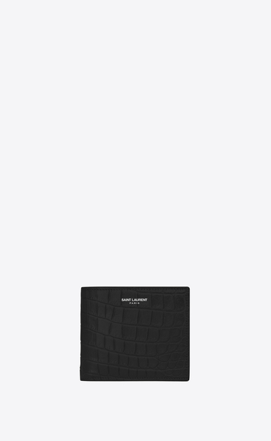SAINT LAURENT Saint Laurent Paris SLG U Classic Saint Laurent Paris East/West Wallet iN BLACK CROCODILE EMBOSSED LEATHER a_V4