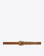 SAINT LAURENT Skinny Belts D WESTERN 3 Passants Belt in Tan Suede and Light Bronze-Toned Metal f