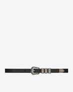 WESTERN 3 Passants Belt in Black Leather and Brushed Silver-Toned Metal