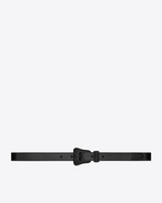SAINT LAURENT Skinny Belts D WESTERN Belt in Black Leather and Black Matte Enamel f
