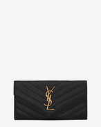 SAINT LAURENT College SLG D large college flap wallet in black matelassé leather f