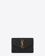 SAINT LAURENT Monogram Matelassé D Small COLLEGE Envelope Wallet in Black Matelassé Leather f