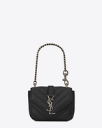 SAINT LAURENT College SLG D Mini COLLEGE Bag in Black Matelassé Leather f