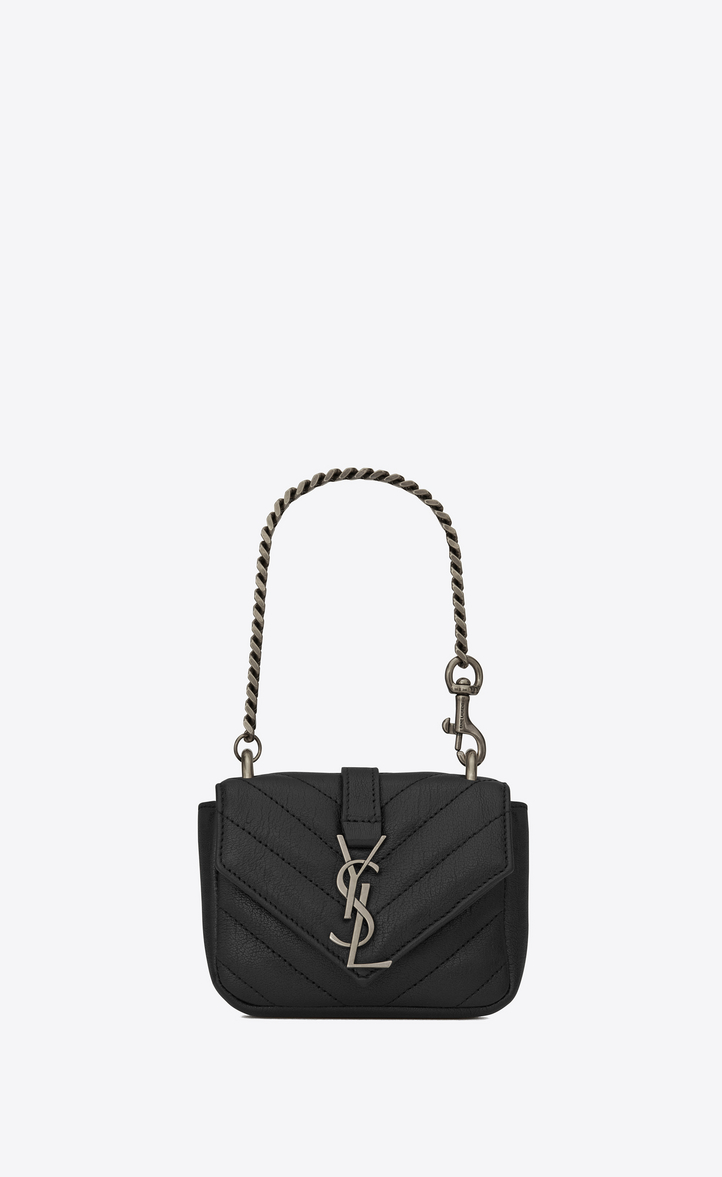 Mini College Bag In Black Matelassé Leather Front View