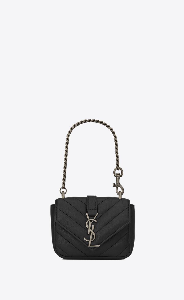 Saint Laurent Mini COLLEGE Bag In Black Matelassé Leather  5ea1e29c13ba3