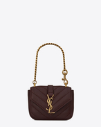 SAINT LAURENT College SLG D Mini College-Tasche aus bordeauxrotem Matelassé-Leder f