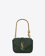SAINT LAURENT College SLG D Mini COLLEGE Bag in Dark Green Matelassé Leather f