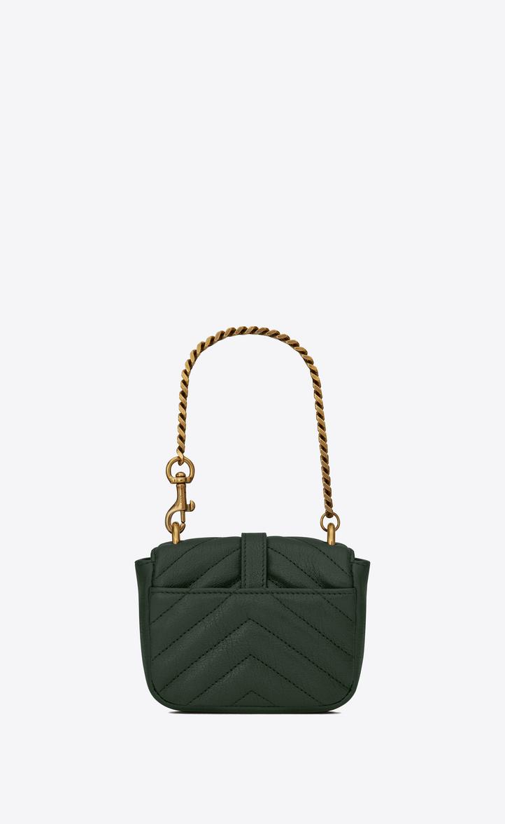 Saint Laurent Mini COLLEGE Bag In Dark Green Matelassé Leather ... 0458300ac4986