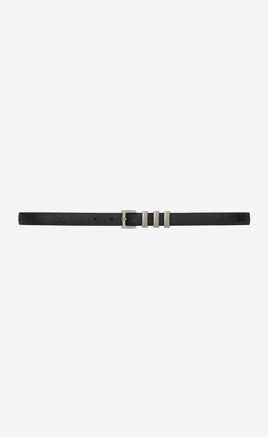 SAINT LAURENT Skinny Belts U CLASSIC 3 PASSANTS SAINT LAURENT BELT IN BLACK Crocodile Embossed LEATHER and brushed silver-toned metal v4