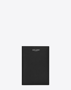 Classic SAINT LAURENT PARIS Passport Case in Black Grain de Poudre Textured Leather