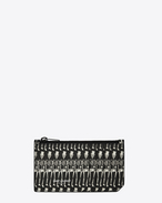 SAINT LAURENT Saint Laurent Paris SLG U Classic SAINT LAURENT PARIS 5 Fragments Zip Pouch in Black and Off White Skeleton Printed Grain de Poudre Textured Leather  f