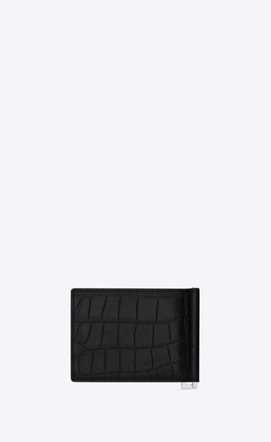 SAINT LAURENT Saint Laurent Paris SLG U classic saint laurent paris bill clip wallet in black crocodile embossed textured leather b_V4