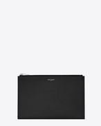 Classic SAINT LAURENT PARIS Zipped Mini Tablet Sleeve in Black Grain De Poudre Textured Leather