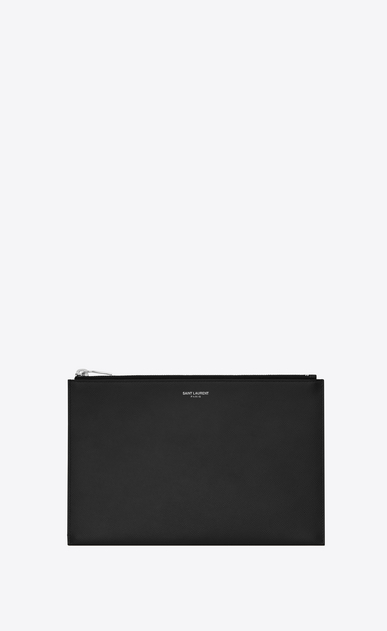 SAINT LAURENT Saint Laurent Paris SLG U Classic SAINT LAURENT PARIS Zipped Mini Tablet Sleeve in Black Grain De Poudre Textured Leather a_V4