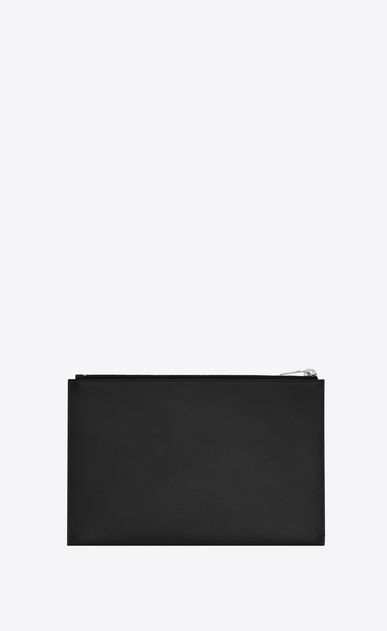 SAINT LAURENT Saint Laurent Paris SLG U Classic SAINT LAURENT PARIS Zipped Mini Tablet Sleeve in Black Grain De Poudre Textured Leather b_V4