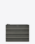 SAINT LAURENT Saint Laurent Paris SLG U Classic SAINT LAURENT PARIS Zipped Tablet Sleeve in Black and Off White Skeleton Printed Grain De Poudre Textured Leather f