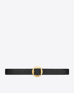 GÉOMÉTRIQUE Buckle Belt in Black Leather and Aged Gold-Toned Metal