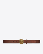 SAINT LAURENT Classic Belts U Lion Buckle Belt in Vintage Brown Leather and Oxidized Gold-Toned Metal f