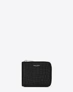Classic SAINT LAURENT PARIS Compact Wallet in Black Crocodile Embossed Leather
