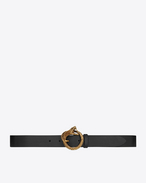 SAINT LAURENT Classic Belts U Serpent Buckle Belt in Black Leather and Aged Gold-Toned Metal f