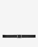 SAINT LAURENT Classic Belts U DYLAN Buckle Belt in Black Brushed Leather and Oxidized Nickel f