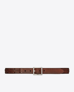 SAINT LAURENT Classic Belts U DYLAN Buckle Braided Belt in Vintage Brown Leather and Oxidized Nickel f