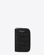 Classic SAINT LAURENT PARIS Zipped Key Case in Black Crocodile Embossed Leather