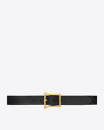 SAINT LAURENT Klassische Gürtel U BOWIE Buckle Belt in Black Brushed Leather and Aged Gold-Toned Metal f