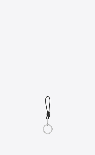 SAINT LAURENT Key Ring U RIDER CALIFORNIA Key ring in Black Leather and Silver Metallic Leather b_V4