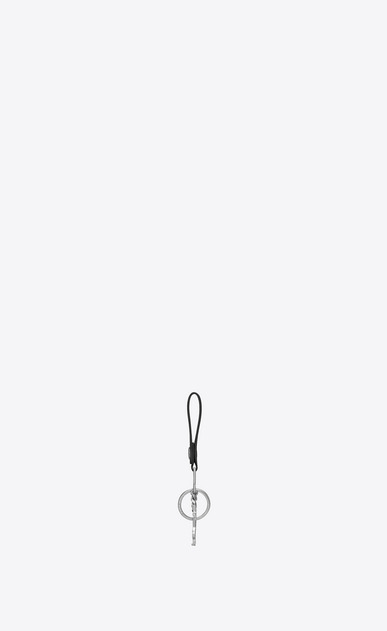SAINT LAURENT Key Ring U rider ysl key ring in black leather b_V4