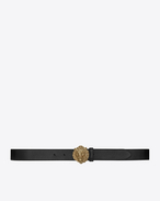 SAINT LAURENT Classic Belts U lion buckle belt in black leather and oxidized gold-toned metal f