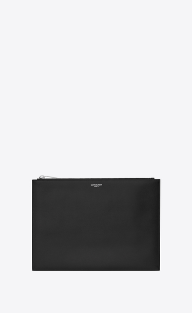 SAINT LAURENT Saint Laurent Paris SLG E saint laurent paris zipped tablet sleeve in black textured leather a_V4