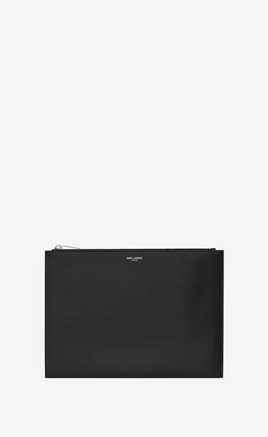 SAINT LAURENT Saint Laurent Paris SLG U étui pour tablette zippé saint laurent paris en cuir texturé grain-de-poudre noir v4