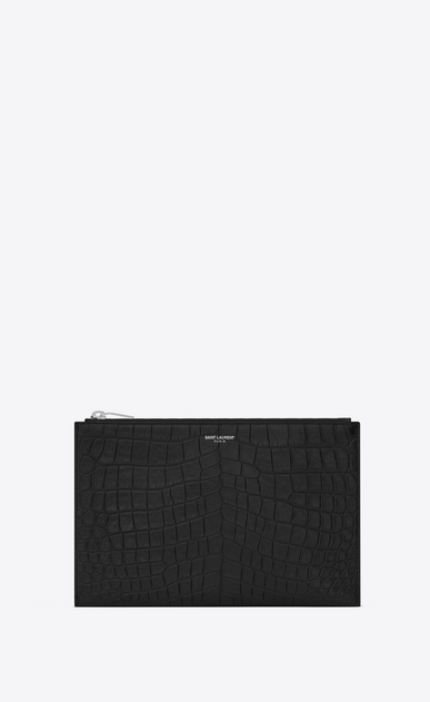 SAINT LAURENT Saint Laurent Paris SLG E mini étui pour tablette zippé saint laurent paris en cuir noir embossé façon crocodile a_V4