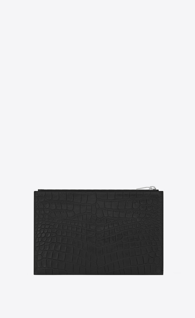 SAINT LAURENT Saint Laurent Paris SLG E mini étui pour tablette zippé saint laurent paris en cuir noir embossé façon crocodile b_V4