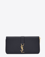 SAINT LAURENT YSL line D YSL Zip Around Wallet in Navy Blue Leather f