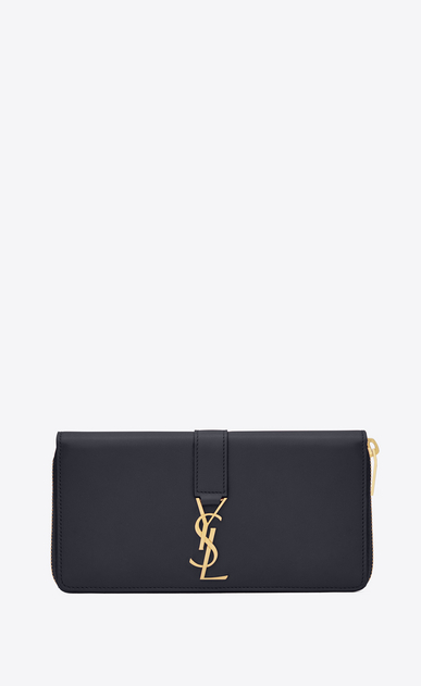 SAINT LAURENT YSL line D YSL Zip Around Wallet in Navy Blue Leather v4