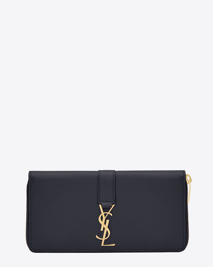 Saint laurent grand portefeuille zipp ysl en cuir bleu for Porte carte ysl