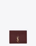 SAINT LAURENT YSL line D YSL Credit Card Case in Dark Red Leather f