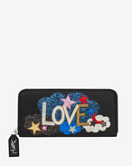"SAINT LAURENT Rive gauche SLG D RIVE GAUCHE ""LOVE"" Zip Around Wallet in Black Leather and Multicolor Metallic Leather, Glitter and Python Skin Patchwork f"
