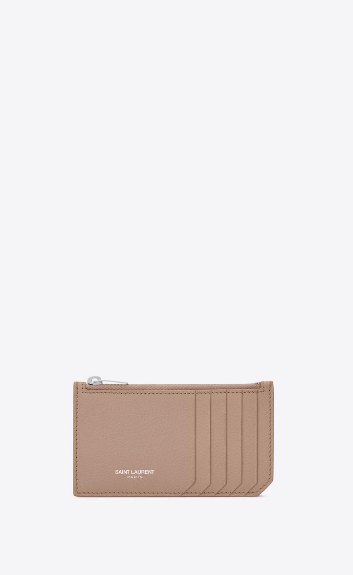 Saint Laurent Fragments Zip Pouch In Antique Rose Grained Leather ... 6735d4a8efb
