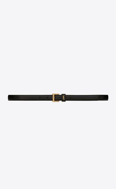 SAINT LAURENT Schmale Gürtel D Klassischer Saint Laurent Passant Monogram Gürtel aus schwarzem Leder und goldfarbenem Metall a_V4