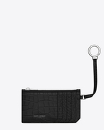 SAINT LAURENT Saint Laurent Paris SLG D Classic SAINT LAURENT 5 Fragments Zip Pouch with Key Ring in Black Crocodile Embossed Shiny Leather f