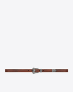 SAINT LAURENT Skinny Belts U WESTERN Belt in Vintage Brown Leather and Antique Silver-Toned Metal f