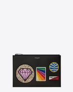 SAINT LAURENT SLP animation U Saint Laurent Paris Mini-Tablet-Etui aus schwarzem Leder mit mehreren Patches f